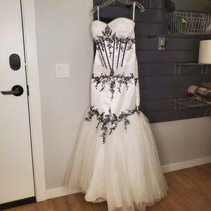 White Black Gown Mermaid Dress Strapless Gala Prom